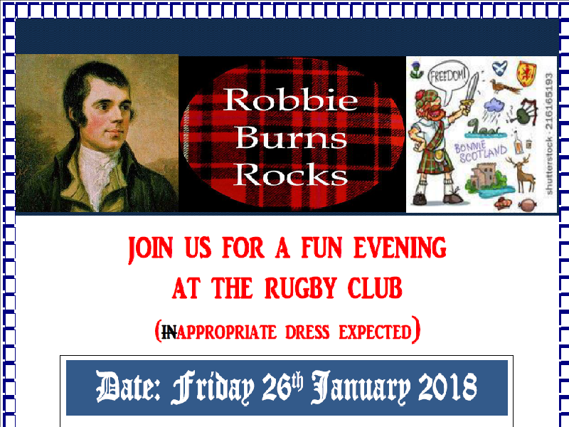 Burns Night Supper at the Club