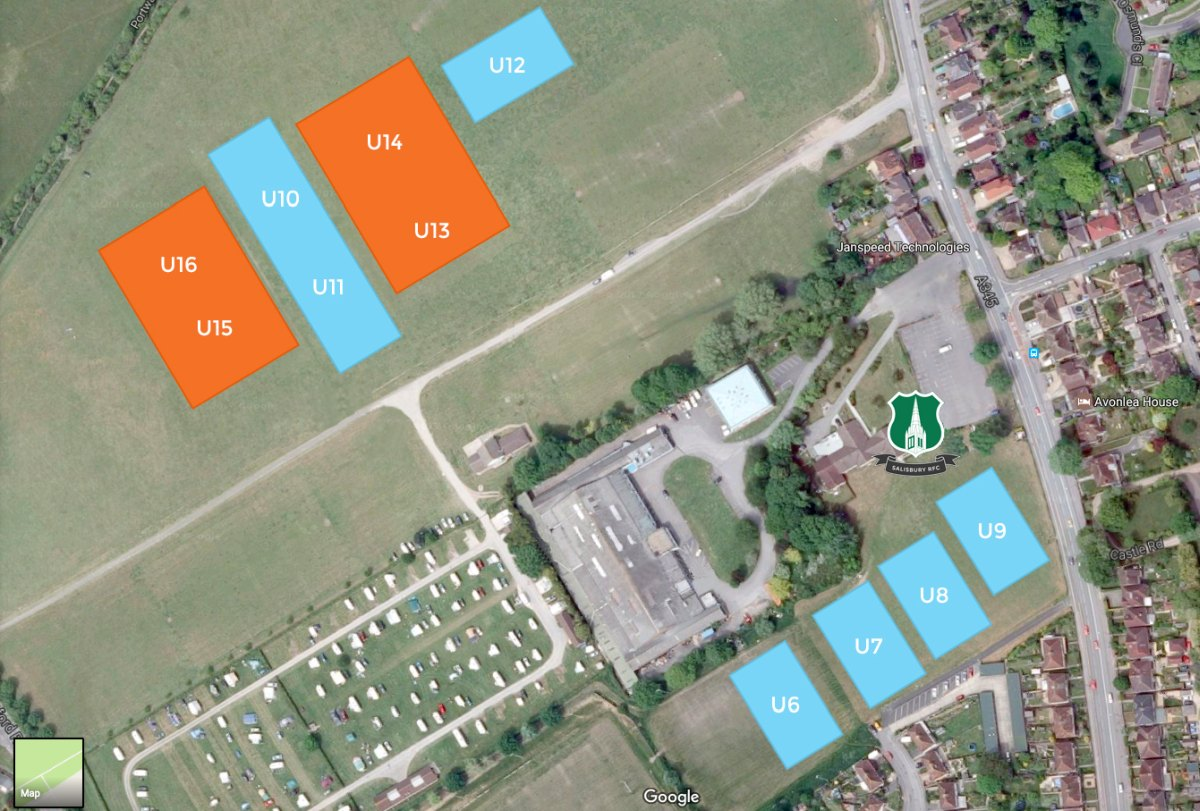 Salisbury RFC Mini Midi pitch layout